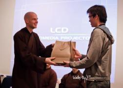 Receiving gift from University of London Buddhist Society